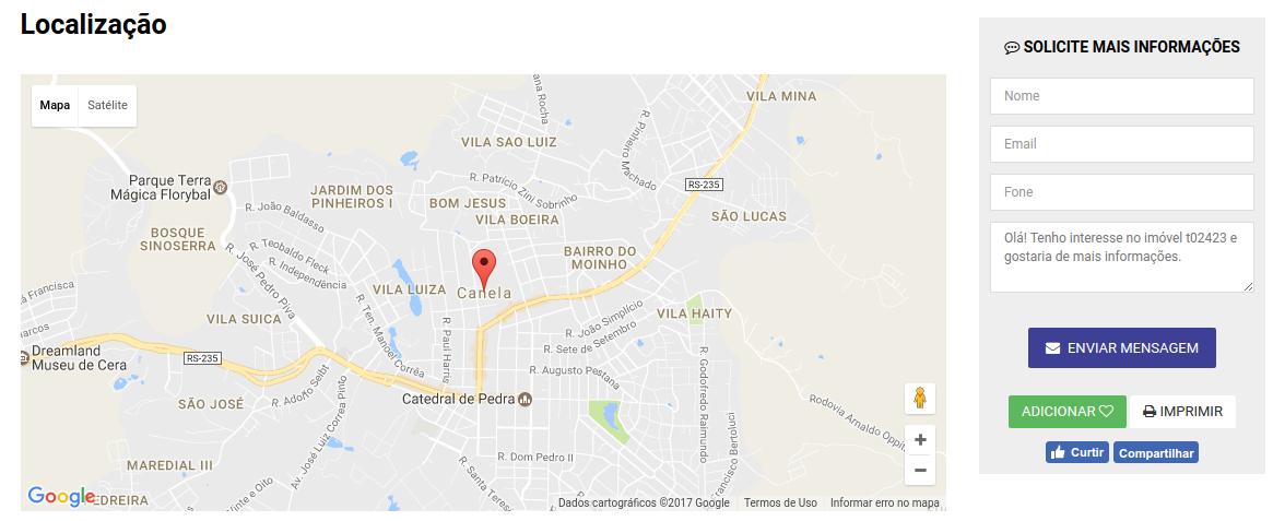 exiba o mapa de localização